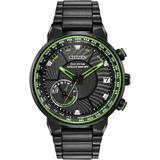 Stainless Steel Satellite Wave World Time Gps Watch - Black - Citizen Watches