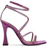 100mm Exclusive Camelia Satin Sandals - Purple - Les Petits Joueurs Heels