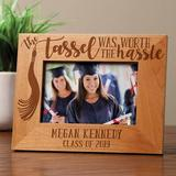 Winston Porter Winn Worth the Hassle Personalized Picture Frame Wood in Brown, Size 6.75 H x 8.75 W x 0.75 D in | Wayfair