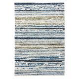 """Lauren Wan by Jaipur Living Sketchy Lines Indoor/ Outdoor Abstract Silver/ Blue Area Rug (3'6""""X5'6"""") - RUG101281"""