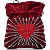 Handbag Trilly Velvet Sequins Bordeaux - Red - Les Petits Joueurs Totes
