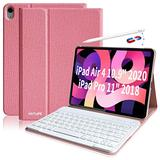 """iPad Air 4 Keyboard Case (10.9-inch, 2020) - Support Pencil Wireless Charging - Detachable Keyboard - Wireless Bluetooth Keyboard iPad Cover for Apple iPad Air 4th Generation 10.9"""" (Pink)"""