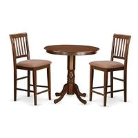 East West Furniture JAVN3-MAH-C 3 Piece Table and 2 Counter Height Chairs Set