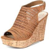 American Rag Womens Charlize Faux Suede Cork Wedge Sandals Tan 9.5 Medium (B,M)