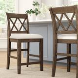 "Sand & Stable™ Sarai 24"" Counter StoolWood/Upholstered in Brown/White, Size 40.0 H x 22.0 W x 20.0 D in   Wayfair E76B5958F53E4FFF91957E266DDD41F0"
