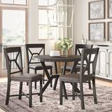 Three Posts™ Bairoil 5 Piece Dining SetWood/Metal/Upholstered Chairs in Brown/Gray, Size 30.0 H x 45.0 W x 45.0 D in   Wayfair