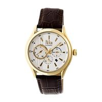 Reign Gustaf Genuine Leather Mens Watch,White Dial,Gold Case,Brown