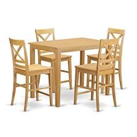 East West Furniture YAQU5-OAK-W 5 Piece Pub Table and 4 Counter Height Dining Chair Set