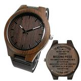 Personalized Mens Wooden Watch Nightlight Black Leather Strap Analog Quartz Movement Engraved Watch Strap Leather for Son and Father Gifts (AK4705)