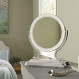 Charlton Home® Vanleer Modern & Contemporary Beveled Lighted Magnifying Makeup/Shaving MirrorMetal in Gray, Size 16.0 H x 12.75 W x 6.25 D in