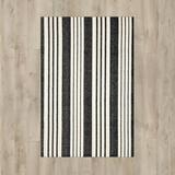 Dash and Albert Rugs Woven Cotton Striped Handmade Flatweave Black/Ivory Area Rug Cotton in Brown/White, Size 108.0 H x 72.0 W x 0.25 D in | Wayfair