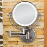 Charlton Home® Vannatta Glam Beveled Lighted Magnifying Makeup/Shaving MirrorMetal in Gray, Size 12.0 H x 8.75 W x 2.25 D in   Wayfair
