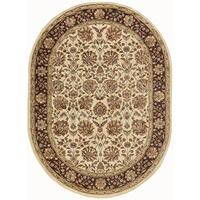 Marietta Transitional Floral Beige Oval Area Rug, 5' x 7' Oval