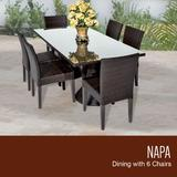 Napa Rectangular Outdoor Patio Dining Table w/ 6 Armless Chairs in Espresso - TK Classics Napa-Rectangle-Kit-6