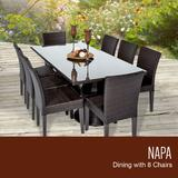 Napa Rectangular Outdoor Patio Dining Table w/ 8 Armless Chairs in Espresso - TK Classics Napa-Rectangle-Kit-8