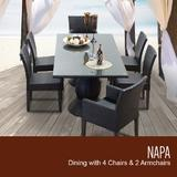 Napa Rectangular Outdoor Patio Dining Table w/ 4 Armless Chairs and 2 Chairs w/ Arms in Espresso - TK Classics Napa-Rectangle-Kit-4Adc2Dc