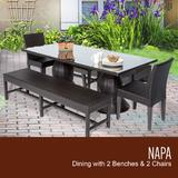Napa Rectangular Outdoor Patio Dining Table w/ 2 Chairs and 2 Benches in Espresso - TK Classics Napa-Rectangle-Kit-2C2B
