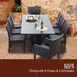 Napa Rectangular Outdoor Patio Dining Table w/ 6 Armless Chairs And 2 Chairs W/ Arms in Espresso - TK Classics Napa-Rectangle-Kit-6Adc2Dc