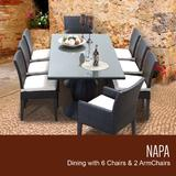 Napa Rectangular Outdoor Patio Dining Table w/ 6 Armless Chairs And 2 Chairs W/ Arms in Sail White - TK Classics Napa-Rectangle-Kit-6Adc2Dcc-White
