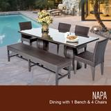 Napa Rectangular Outdoor Patio Dining Table w/ 4 Chairs and 1 Bench in Espresso - TK Classics Napa-Rectangle-Kit-4C1B