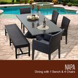 Napa Rectangular Outdoor Patio Dining Table w/ 2 Armless Chairs 2 Chairs w/ Arms and 1 Bench in Espresso - TK Classics Napa-Rectangle-Kit-2Adc2Dc1Db