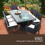 Venice Rectangular Outdoor Patio Dining Table w/ with 6 Armless Chairs and 2 Chairs w/ Arms in Sail White - TK Classics Venice-Rectangle-Kit-6Adc2Dcc-White