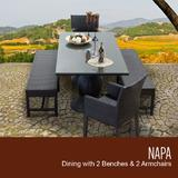 Napa Rectangular Outdoor Patio Dining Table w/ 2 Chairs w/ Arms and 2 Benches in Espresso - TK Classics Napa-Rectangle-Kit-2Dc2Db