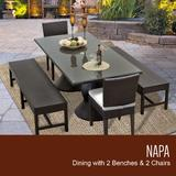 Napa Rectangular Outdoor Patio Dining Table w/ 2 Chairs and 2 Benches in Sail White - TK Classics Napa-Rectangle-Kit-2C2B-C-White