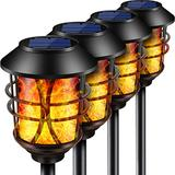 TomCare Solar Lights Metal Flickering Flame Solar Torches Lights Waterproof Outdoor Heavy Duty Lighting Solar Pathway Lights Landscape Lighting Dusk to Dawn Auto On/Off for Garden Patio Yard, 4 Pack