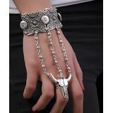 YUSHI Women's Bracelets ANTIQUE - Silvertone Embossed Bull Skeleton Wrist-to-Ring Bracelet