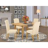 5Pc Kitchen table with linen beige fabric Parson chairs with oak chair legs