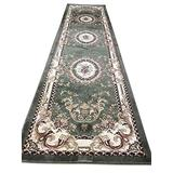 Traditional Long Runner Oriental Aubusson Floral Area Rug Persian Green Burgundy Beige Design 602 (31 Inch X 15 Feet 8 Inch)
