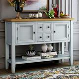 Console Table Sideboard Buffet Storage Cabinet Home Furniture for Entryway Hallway with Bottle Shelf (White)