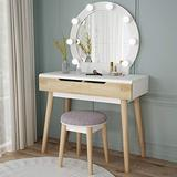 Tribesigns Vanity Set with Round Lighted Mirror, Wood Makeup Vanity Dressing Table Dresser Desk with 2 Drawers and Cushioned Stool for Bedroom (White)