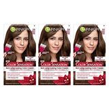 Garnier Color Sensation Hair Color Cream, 5.0 Chocolate Therapy (Medium Natural Brown), (Pack of 3) (Packaging May Vary)