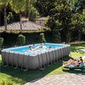 Intex 732x366x132 cm Ultra Frame Swimming Pool 26364 Komplett-Set mit Extra-Zubehör wie: Filterglas, Luftmatratze