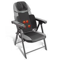 Electric Foldable Shiatsu Massage Chair - Neck Back Waist Portable Folding Home Seat Massager w/ Pow