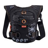 Multi-Pocket Nylon Waist Bag Fanny Pack Thigh Pouch Leg Bag Travel Purse Crossbody Shoulder Messenger Bag for Men Women for Sport Bike Racing Cycling Tactical Travel Hiking Drop Leg Bag (Black)