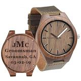 Groomsmen Watches Custom Engraved Wooden Watches for Men Wedding Anniversary Watch for Men with Wooden Boxes - Walnut Brown