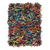 Safavieh Rugs Indoor Rugs Multi - Yellow & Gray Shag Leather Norah Rug