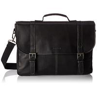 "Heritage Travelware Colombian Leather Dual Compartment 16"" Flapover Laptop Portfolio, Black"
