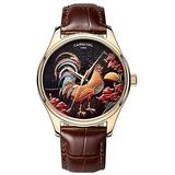 Swiss Watch Mens Automatic-Self-Wind Animal Cock Analog Display Rose Gold Stainless Steel Leather Strap (Brown Leather)