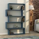 Latitude Run® Musser Geometric Bookcase Wood in Blue, Size 63.39 H x 39.37 W x 9.45 D in | Wayfair 736D64AF80DB41AAAD457BDD26C9DDC8