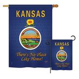 Breeze Decor Kansas American States Impressions Decorative Vertical 2-Sided Polyester 2 Piece Flag Set in Blue, Size 28.0 H x 18.5 W in | Wayfair