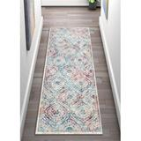 Well Woven Allure Ava Power Loom Ivory Rug Polyester/Polypropylene in Blue, Size 87.0 H x 24.0 W x 0.25 D in   Wayfair AE-22-2