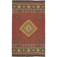 "Surya Jewel Tone JT-1033 Flatweave Hand Woven 100% Wool Maroon 3'6"" x 5'6"" Southwest Area Rug"