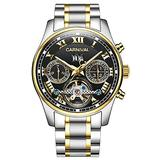 Swiss Brands Mens Automatic Self Wind Watch Skeleton with Gold Ion-Plated Stainless Steel Two-Tone Watch (Two-Tone Black Dial)