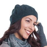 100% alpaca knit hat, 'Andean Comfort in Teal'