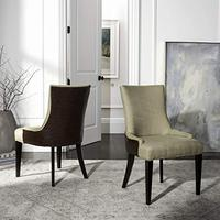 Safavieh Mercer Collection Eva Viscose and Leather Dining Chair with Trim Nail Head, Beige
