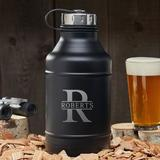East Urban Home Double Walled Personalized Beer 64 oz. Growler Stainless Steel in Black/Gray, Size 11.0 H x 4.5 W in   Wayfair
